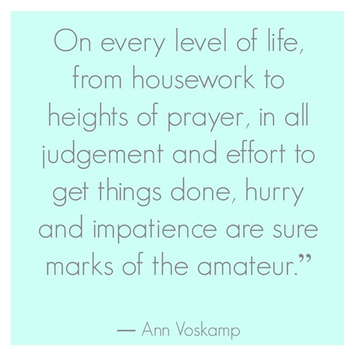 hurry and impatience  ann voskamp