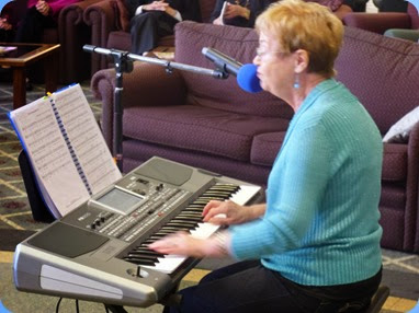 The Club's Events Manager, Diane Lyons, played and sang to her new Korg Pa900.