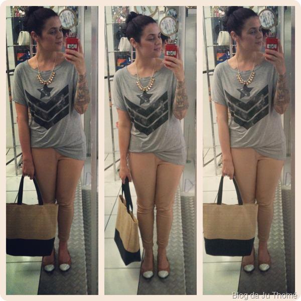 look calça de couro nude renner, camiseta, sapatilha e bolsa bicolor