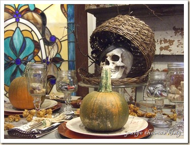 pumpkins, skull, southern style wine goblets and whip-stitched napkins