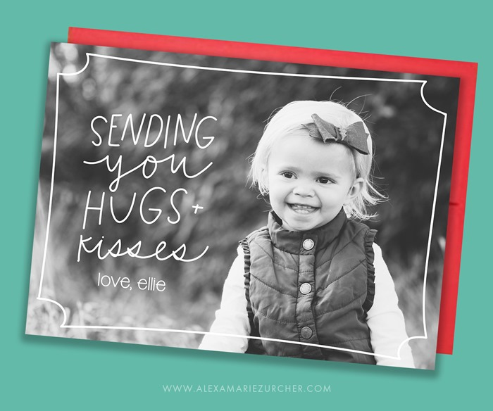 Sending hugs and kisses valentines day card template