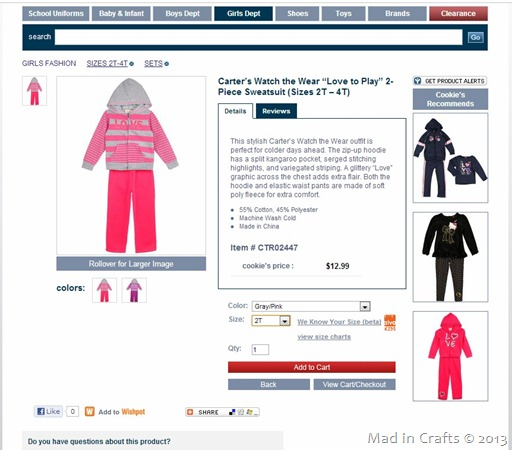 Cookie's Kids Carter's Sweatsuit
