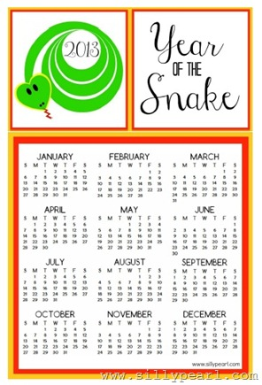 Year of the Snake 2013 Printable Calendar Free Download