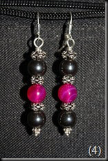 Hematite, Pink Agate Sterling Silver Earrings
