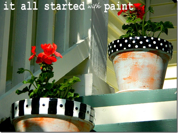 polka_dot_painted_black_white_terracotta_planters