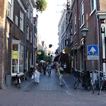 narrow streets in haarlem in Haarlem, Noord Holland, Netherlands