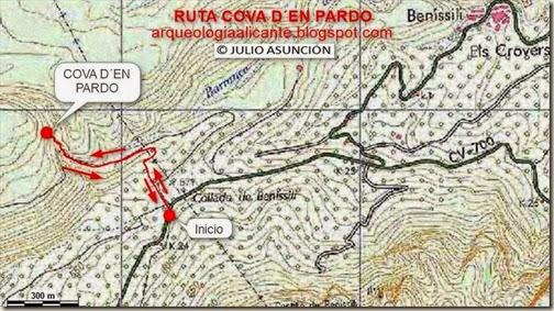 Mapa ruta Cova d´En Pardo
