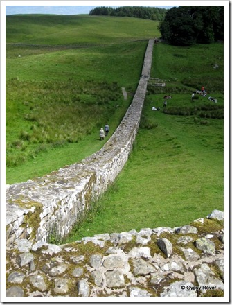 Hadrians Wall stretching away from the fort.