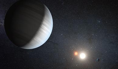 ilustração do sistema circumbinário Kepler-47