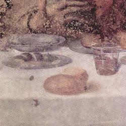 Detalle de la mesa, con ésta y el plato en perspectiva. Leonardo da Vinci (1495-1498): La última cena. Santa Maria delle Grazie
