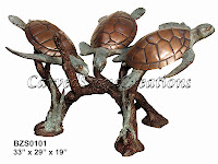 Bronze Turtle Trio Table W/ Glass 33x29x19 D36""