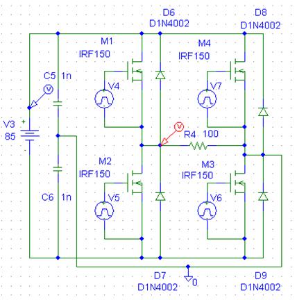 Schematic diagram of Square wave inverter circuit