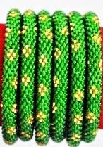 Rollover bracelet flower green