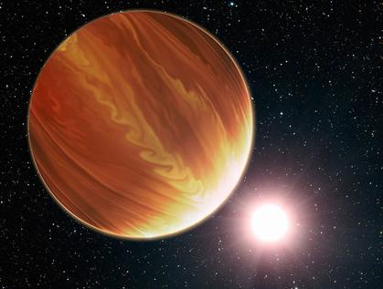 ilustração do exoplaneta gigante HD 209458b