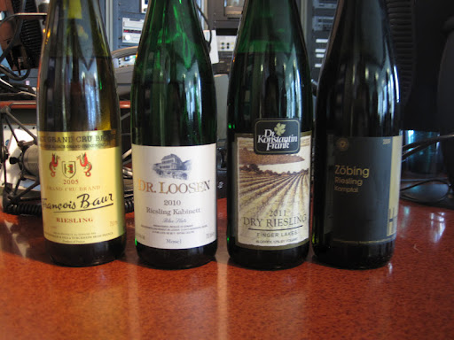 The four Rieslings that Paul Grieco brought for David Rosengarten to sample.
