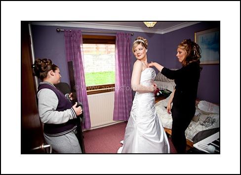 dundee wedding bride getting dressed