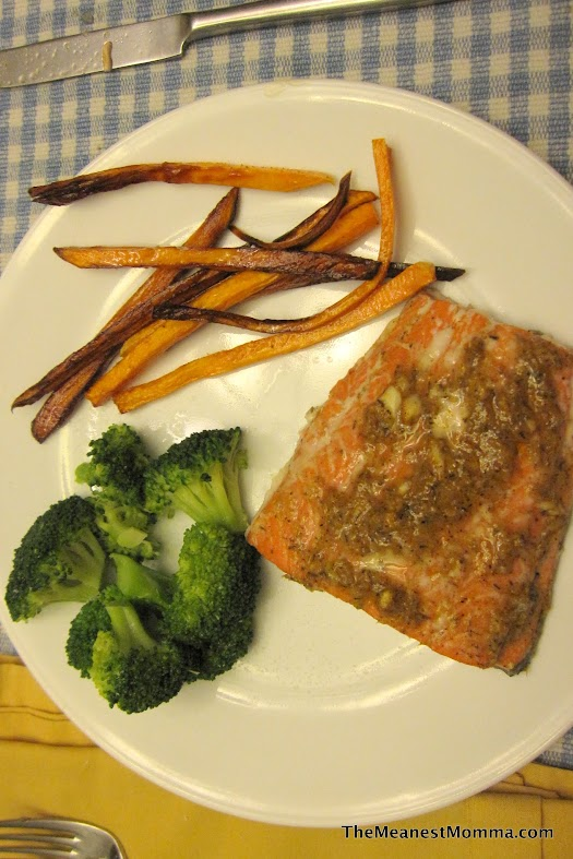 Spice It Salmon, Broccoli, and Sweet Potato Fries