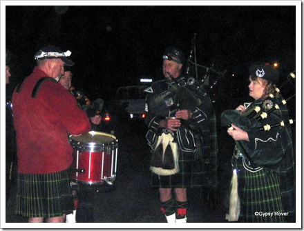 The Drummer and pipers at the Seddonville Dawn Service.