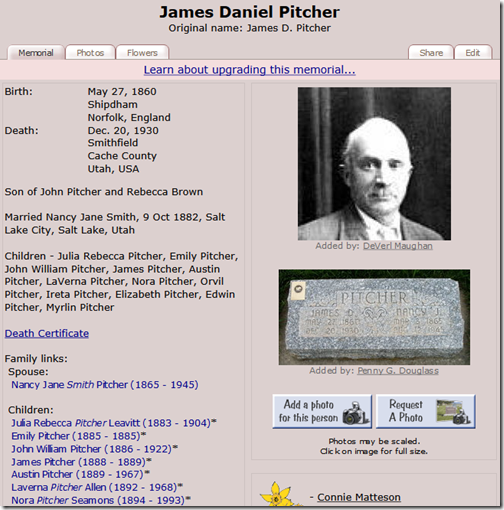James Daniel Pitcher on Find A Grave