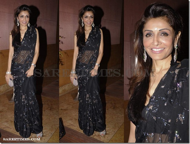 Queenie_Singh_Black_Saree