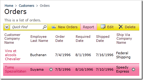 A row selected in the list of Orders. The Report action on the action bar is highlighted.