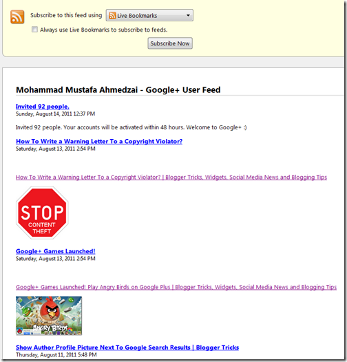 Google+ RSS Feeds