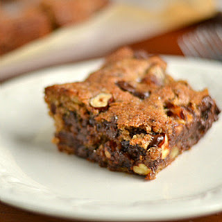 Hazelnut, Chocolate Chip and Date Cookie Bars