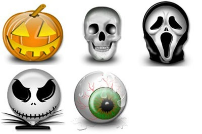 Iconos clip-art Halloween: calabaza, esqueleto, careta scream de Scary Movie, Jack de Pesadilla antes de Navidad y ojo.