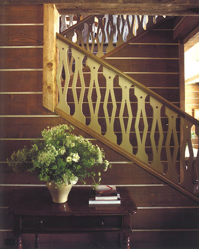 From a family vacation home in Sun Valley, Idaho, the incredible detailing in this painted banister was original to the cabin's architecture.
