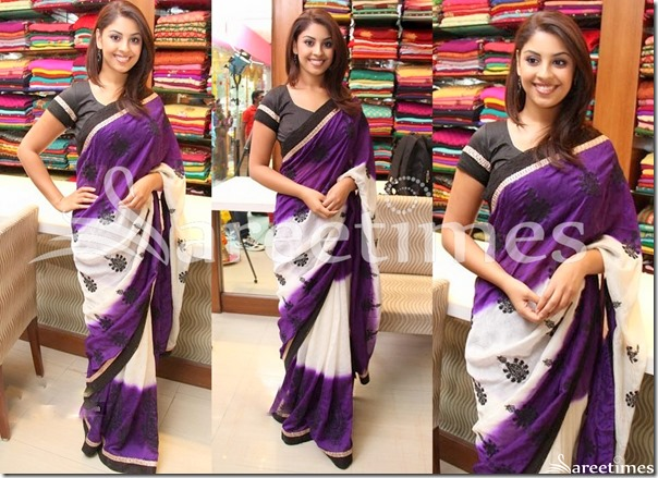 White_Purple_Chiffon_Saree