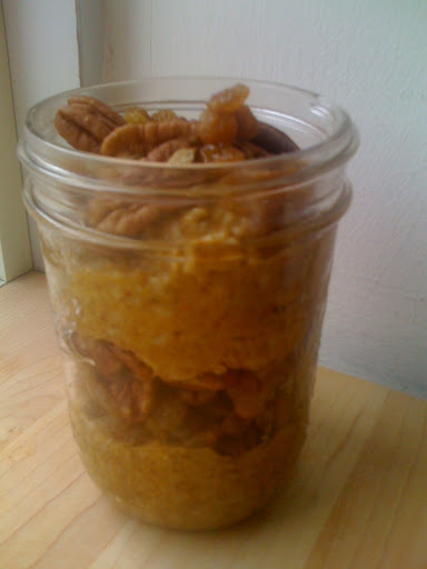 THURSDAY: I was short on time, so I skipped the heating and just stirred pumpkin puree, maple syrup and pumpkin pie spice into the cooked oatmeal and topped with golden raisins and pecans. Just like pumpkin pie, it tastes great slightly chilled or at room temp. I put this breakfast in a jar so I could eat it while I walked to work.