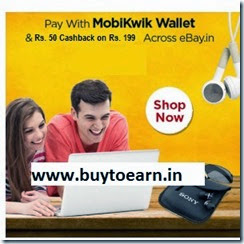 Ebay : Shop with Mobikwik wallet and get Rs. 50 Cashback on Rs. 199