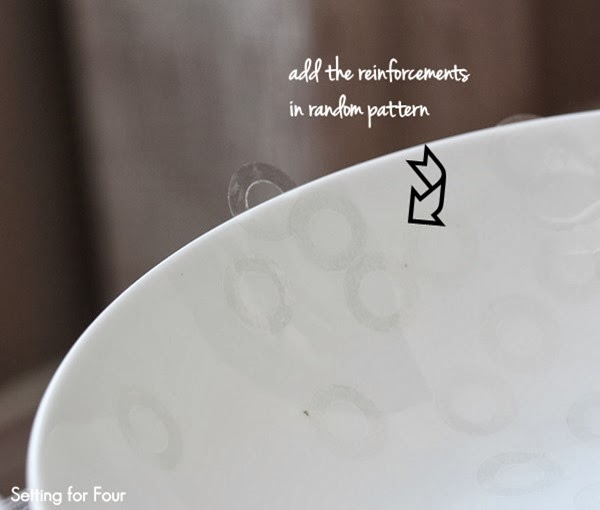 Add self adhesive reinforements to bowl