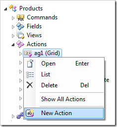 New Action context menu option in the Project Explorer.