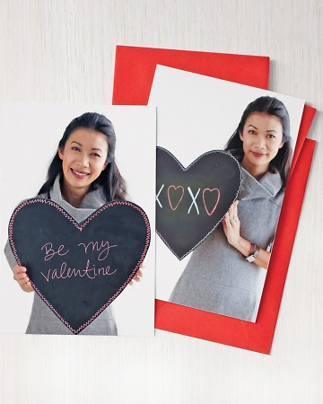 A chalkboard valentine allows for countless changes of heart. Make the prop out of foam board covered with chalkboard self-adhesive paper. Write a message for one love, take a picture, and then erase it and write another note. Mail or email the photo(marthastewart.com)