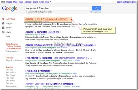 cari templet joomla! 1.7 percuma guna Google