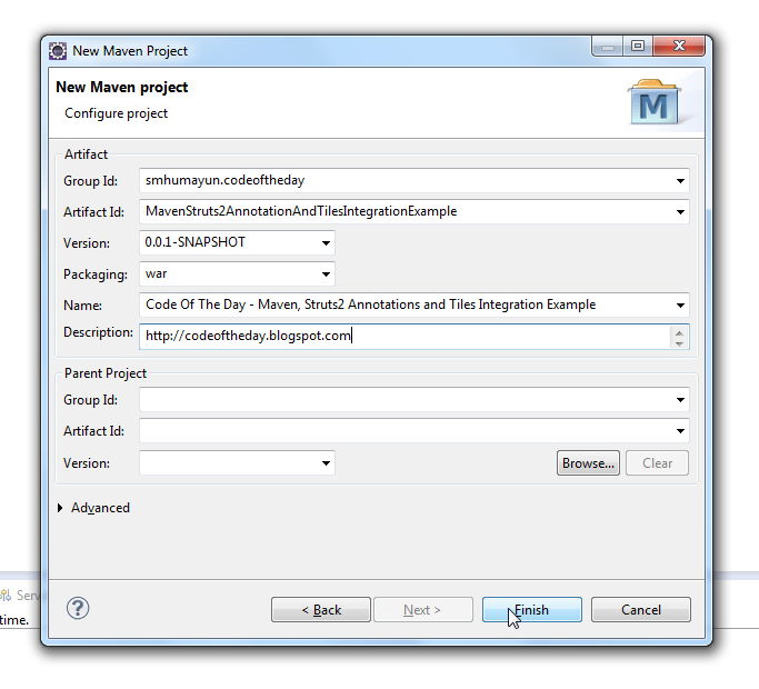 eclipse new maven project - configure project