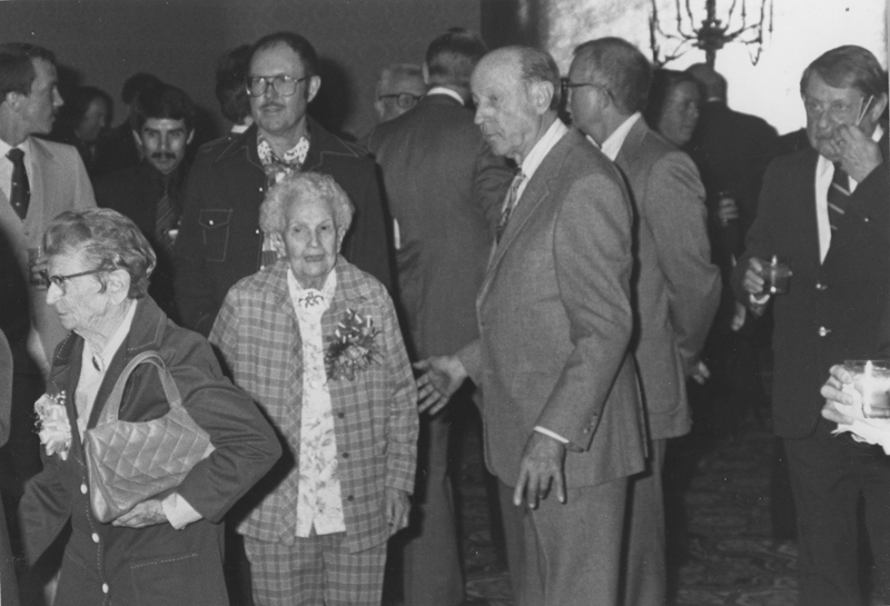Dorothly Putnam (far left) and Lois Mercer next to W. Dorr Legg at ONE Incorporated's 30th Annual Banquet. In 1984, at the ONE Incorporated 32nd Annual Banquet, Lois Mercer was honored for her service. January 30, 1982.