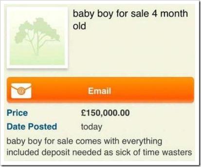 Mãe inglesa tenta vender bebê de 4 meses na internet