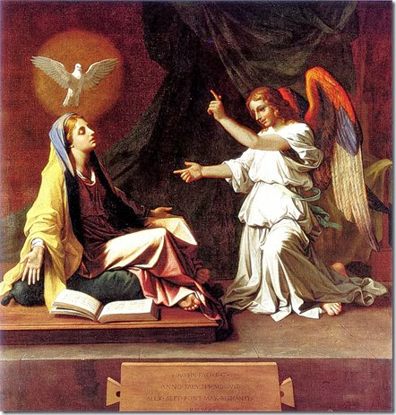 annunciation- HS Overshadow Mary. by Nicolas Poussin