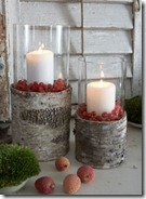 Birch Bark Hurricane Lamps