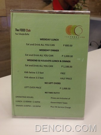 The Food Club Buffet Price Rates