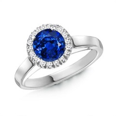 Round Sapphire and Diamond Cocktail Ring