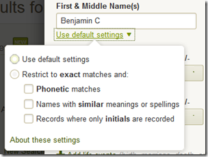Ancestry.com advanced mode search filters for names