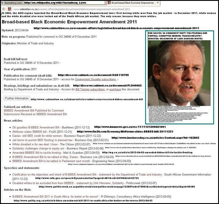 WHITE WOMEN EXCLUDED FROM SA JOB MARKET ORIGINAL GOVERNMENT ANNOUNCEMENT GAZETTE DEC 2011