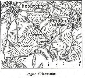 """Le 12 juin 1915, le journal """"L'illustration"""" publie un article sur la bataille d'Hbuterne avec une carte o l'on remarque les fermes de La Signy et de Touvent"""