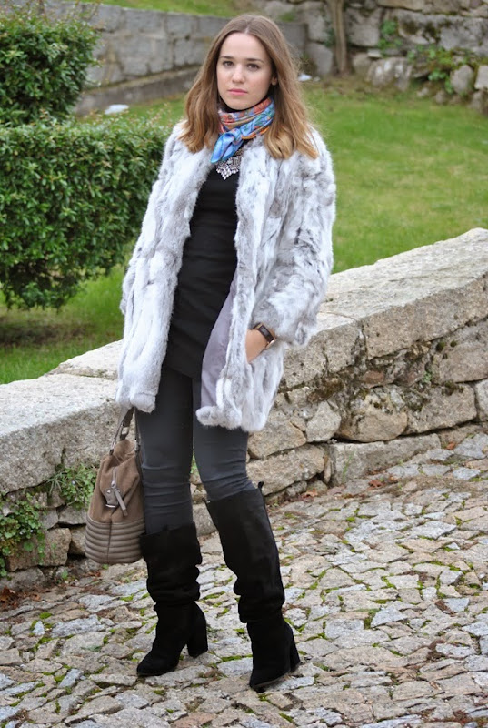 grey faux fur coat hermes style in madrid 3