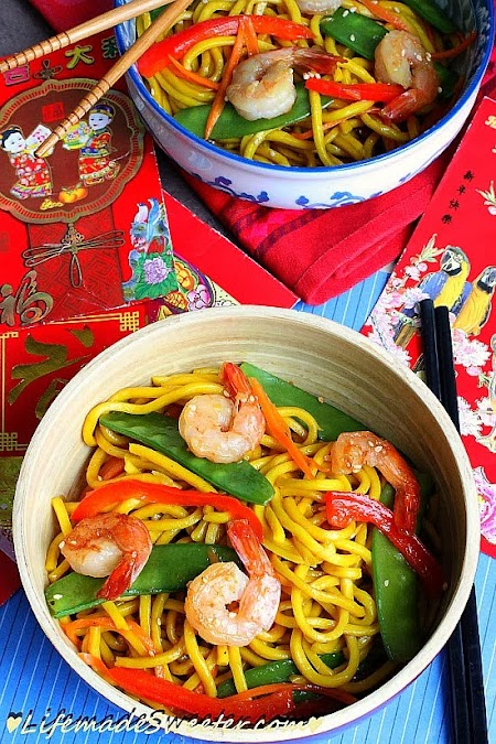 Shrimp & Snow Peas Stir-Fry Lo Mein Noodle Life made Sweeter 4.jpg