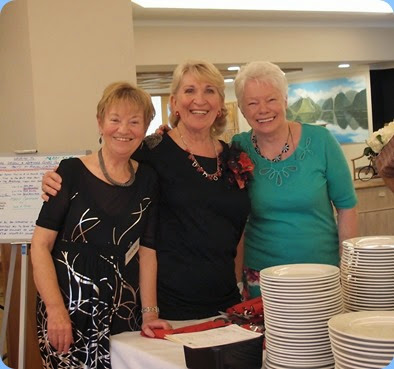The Three Musketeers, Diane Lyons, Margaret Black and Barbara Bailey, preparing to organize the BBQ. Photo courtesy of Dennis Lyons.
