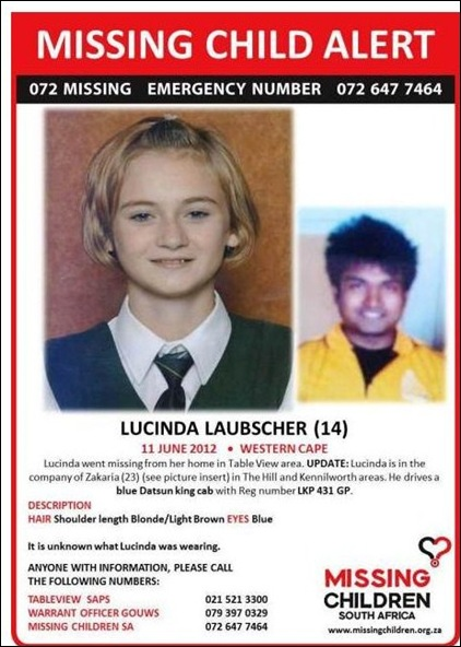 LAUBSCHER LUCINDA 14 kidnap zakaria bluedatsunkingcab LKP 431 GP